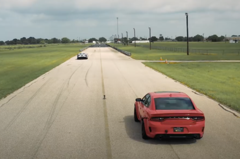 C8 Corvette And Hellcat Go Head To Head In Drag & Roll Race